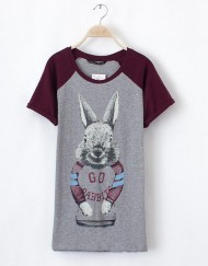 Cartoon Rabits Printed Casual T-shirts Tops -