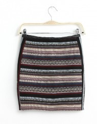 Color Stripe Combined Leaher Mini Skirt ASOS Inspired Pencil Skirt S-O