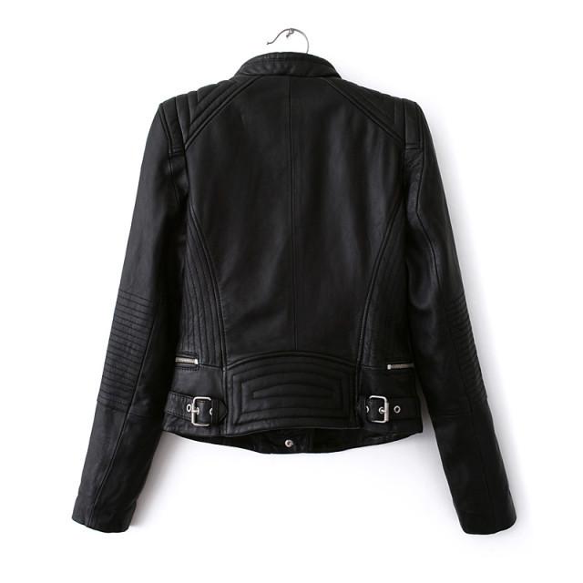 Double Zipper Motorcycle Leather Jackets Coat