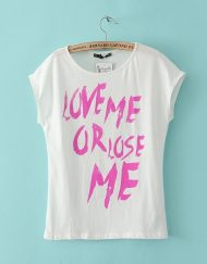 Letters Printed Short Sleeve O-Neck Tops T-shirt