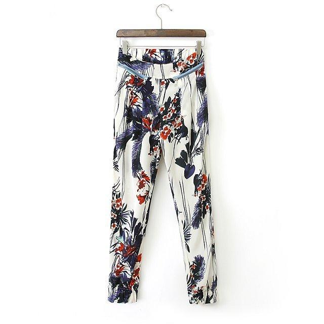 Loose Floral Printed Trousers Pants TW-