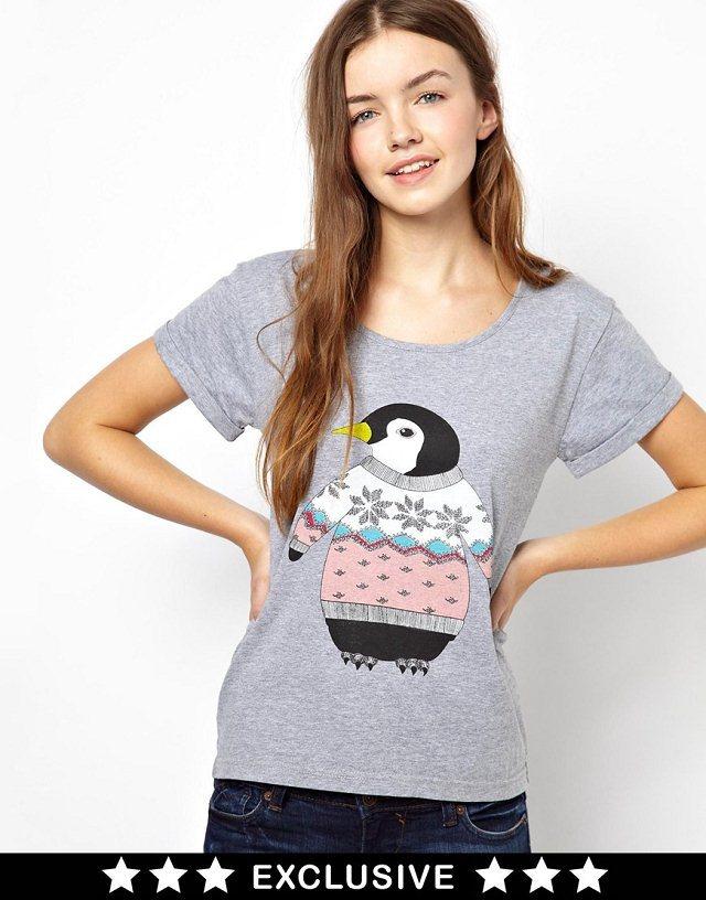 Penguin Printed Short Sleeve O-Neck Tops T-shirt