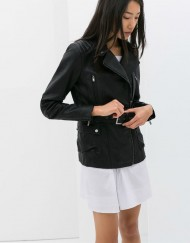 SARALI Long Leather Jackets with Belt Coat