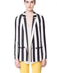 Single Button Vertical White Black Stripe Long Blazer ASOS Inspired Casual Coat BL