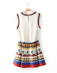 Snoopy Prints Casual Tank Pleated Dress