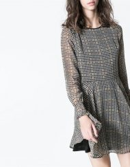 Fashon Houndstooth Long Sleeve o-neck Chiffon Dress Pleated Dress DRB