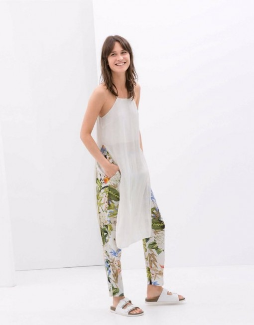 Floral Printed Casual Trousers with Strings Pants