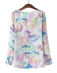 Flower Printed Casual Chiffon Blouse Shirts