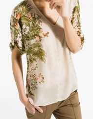 Flower Printed Casual V-neck Blouse Shirts