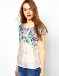 Flower Printed Combination Casual T-shirt Top