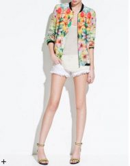 Flower Printed Zipper Bomber Jackets ASOS Inspired Outwear Coats