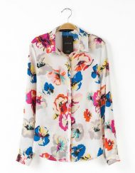 Flower Prints Casual Blouse Shirt