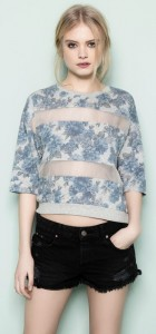 Flower Prints Casual Organza Conbimed T-shirt Tops