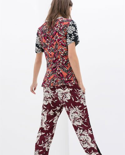 Flower Prints Casual Pants Trousers-