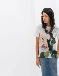 Flower Prints Casual T-shirt Tops -
