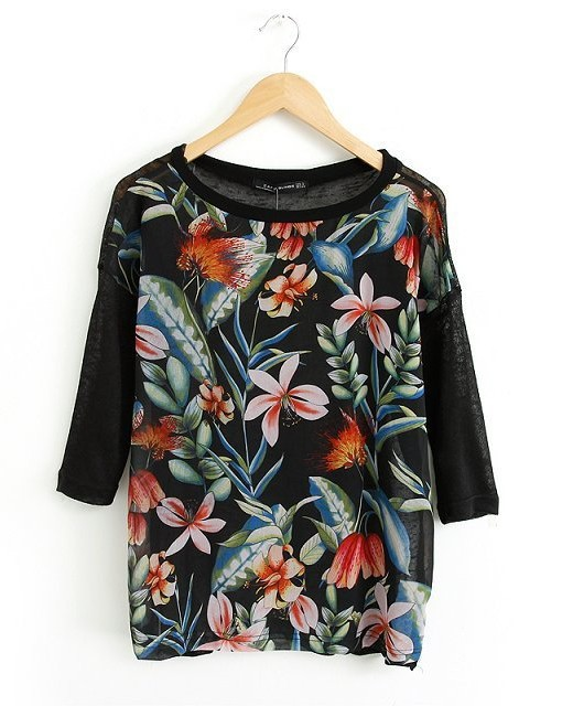Flower Prints Casual T-shirt Tops