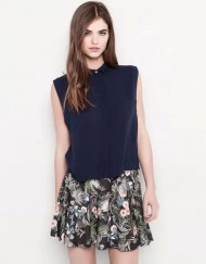 Flower Prints Elastic Waist Chiffon Pleated Skirt