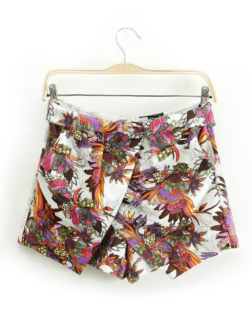 Flower Prints High-waisted Shorts Pants TW-