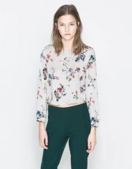 Flower Prints Short Blouse Shirt -