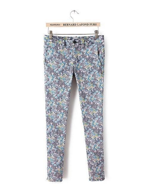 Flower Prints Skinny Pencil Pants -
