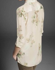 Flower Prints Two Pockets Casual Blouse leisure Shirt