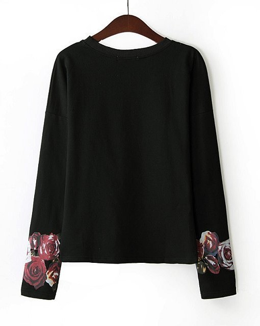 Flower and Letter Prints Casual Sweatshirts Girls Tops-