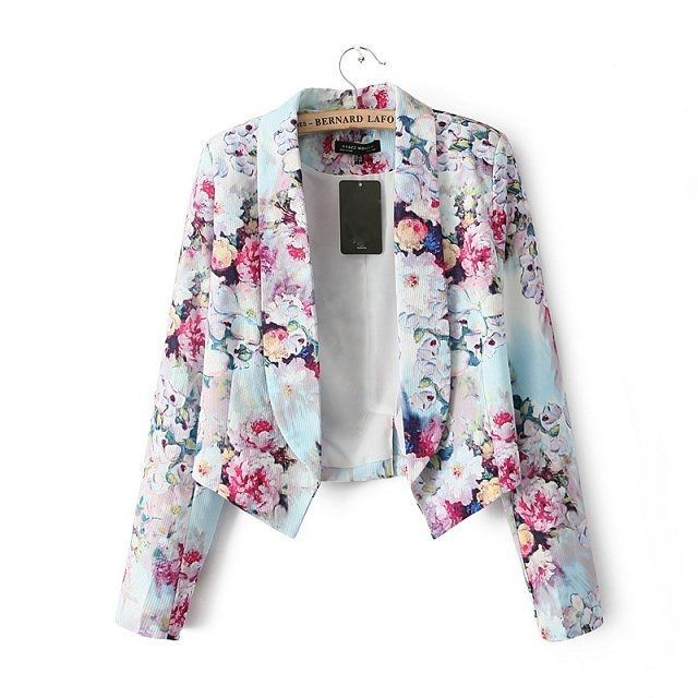 Flowers Printed Notched Casual Blazer