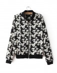 Flowers Printed V-neck Bomber Jackets ASOS Inspired Casual Coats with Zipper