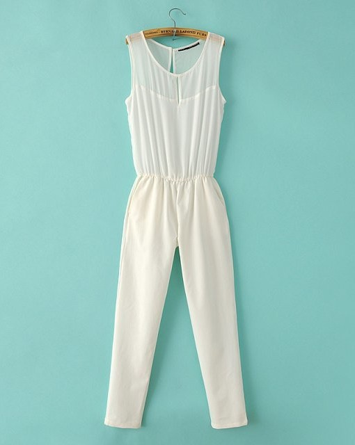 High Quality Pure Color Leisure Chiffon Jumpsuits ASOS Inspired Pants Trousers