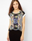 Ink Painting Flower Casual Short Sleeve T-shirt Tops -