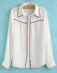 Korean Casual Chiffon Blouse with Black Edge leisure Shirt