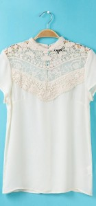 Lace Combination Chiffon Blouse Casual Shirts -