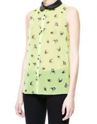 Leather Turn-down Collar Printed Sleeveless Chiffon Blouse ASOS Inspired Shirt