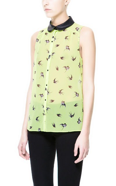 Leather Turn-down Collar Printed Sleeveless Chiffon Blouse ASOS Inspired Shirt