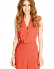 Leisure Short Jumpsuits Pants Pockets Trousers with Sashes