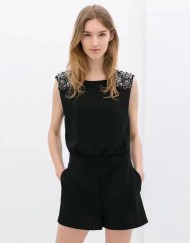 Leisure Short Jumpsuits Shoulder-Beads Backless Pants Pockets Trousers with Sashes