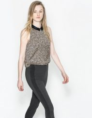 Leopard Prints Leather Peter Pan Collar Chiffon Shirts Casual Blouse