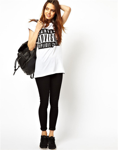 Letter Prints Casual Tops Leisure Tees-