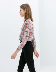 Little Flower Prints Blouse with Ruffles leisure Shirt