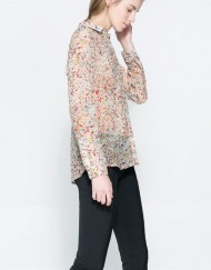 Little Flower Prints Chiffon Blouse leisure Shirt