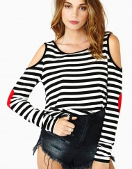 Love Hearts Striped Casual Off-shoulder T-shirts ' Tops -
