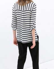 Navy Striped Prints V-neck Casual Blouse leisure Shirt