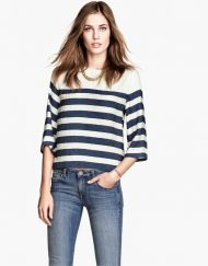Navy Style Striped Prints Casual Chiffon Blouse ASOS Inspired Shirt -