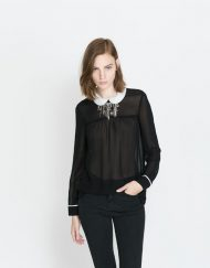 Peter Pan Collar Casual Chiffon Blouse leisure Shirt