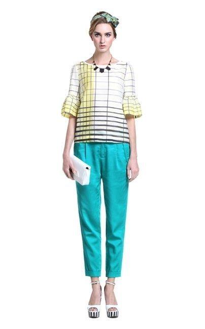 Plaid Flare Sleeve O-Neck Tops T-shirt