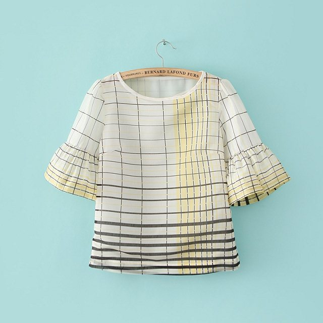 Plaid Flare Sleeve O-Neck Tops T-shirt