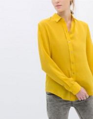 Pure Color Casual Chiffon Blouse leisure Shirt
