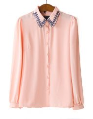 Pure Color Casual Chiffon Blouse with Embroidery Collar leisure Shirt