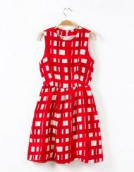 Red Plaids Prints Waist-collected Tank Dress