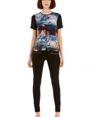 River Sides Prints Short Sleeve Casual T-shirt Tops -